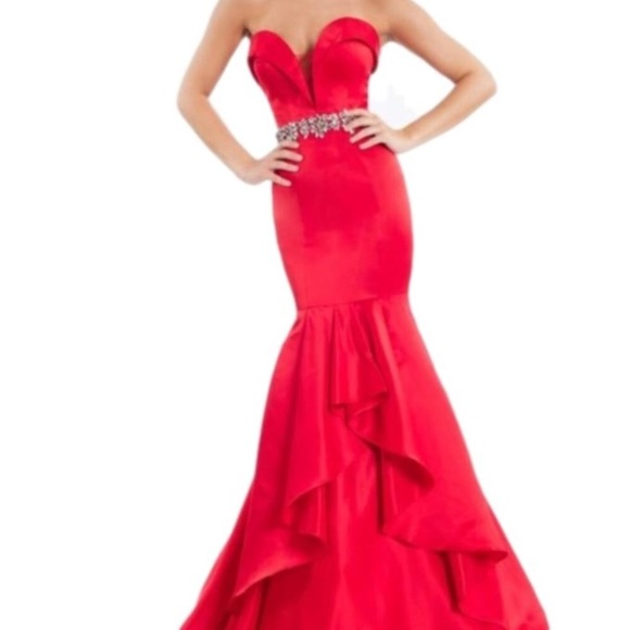 Rachel Allan Dresses | On Sale Classy Red Sweetheart Prom Pageant ...